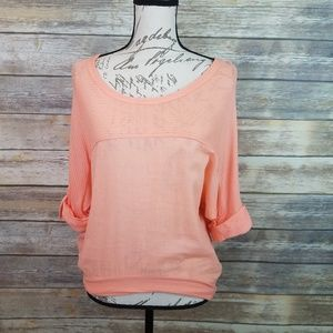 SPLENDID Peach Stripe Top Tab Sleeve Top Size XS